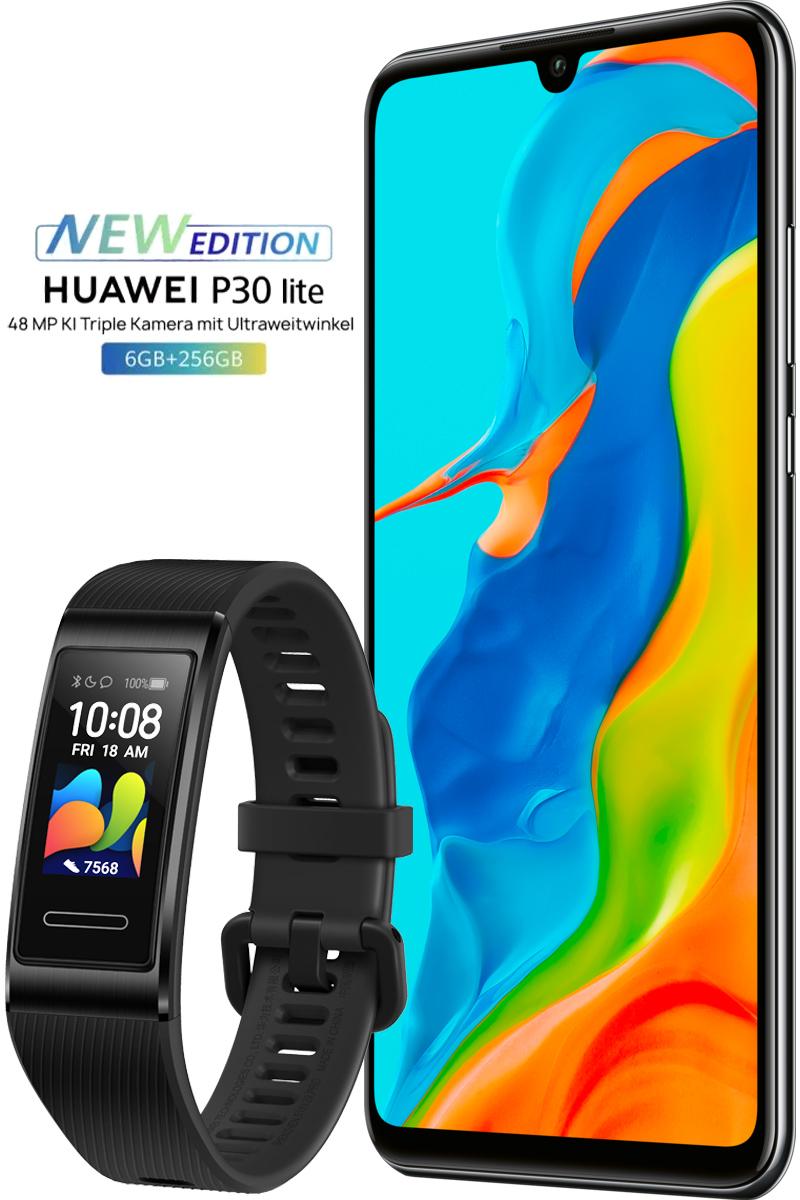 Huawei P30 Lite New Edition 256GB (Black) +Huawei Band 4 Pro (black) BRANDNEU